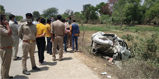 प्रतापगढ़ से बिहार बारात में जा रही कार हुई दुर्घटना की शिकार  | #NayaSaberaNetwork
