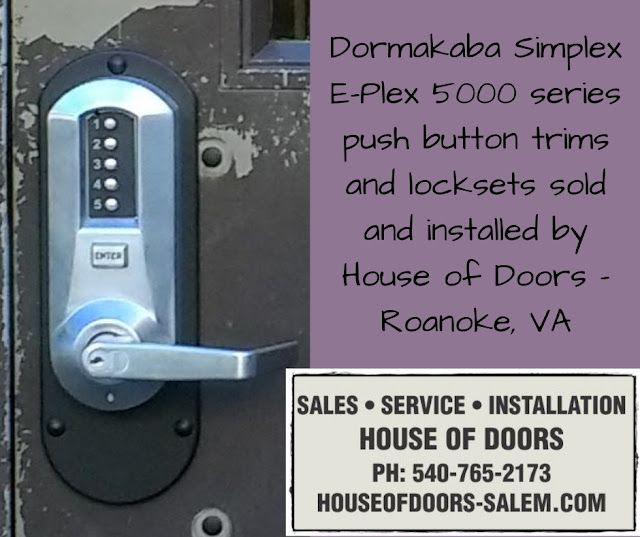 Dormakaba Simplex E-Plex 5000 series push button trims and locksets sold and installed by House of Doors - Roanoke, VA