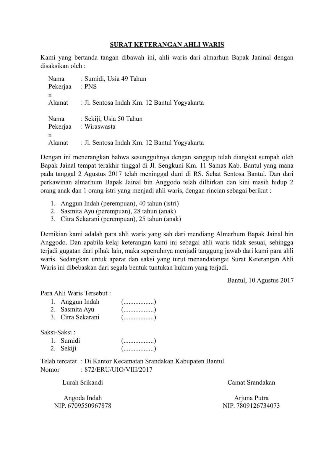 Contoh Surat Ahli Waris Terlengkap