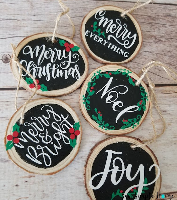 Christmas ornaments on wood slices