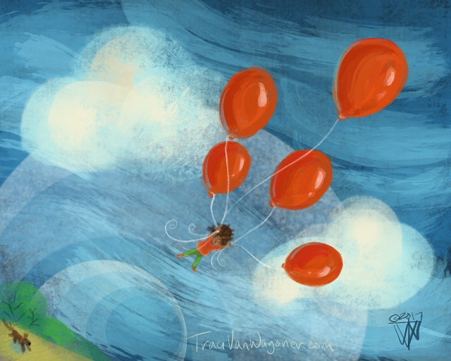Red Balloon Lift Off a story in illustrations by Traci Van Wagoner