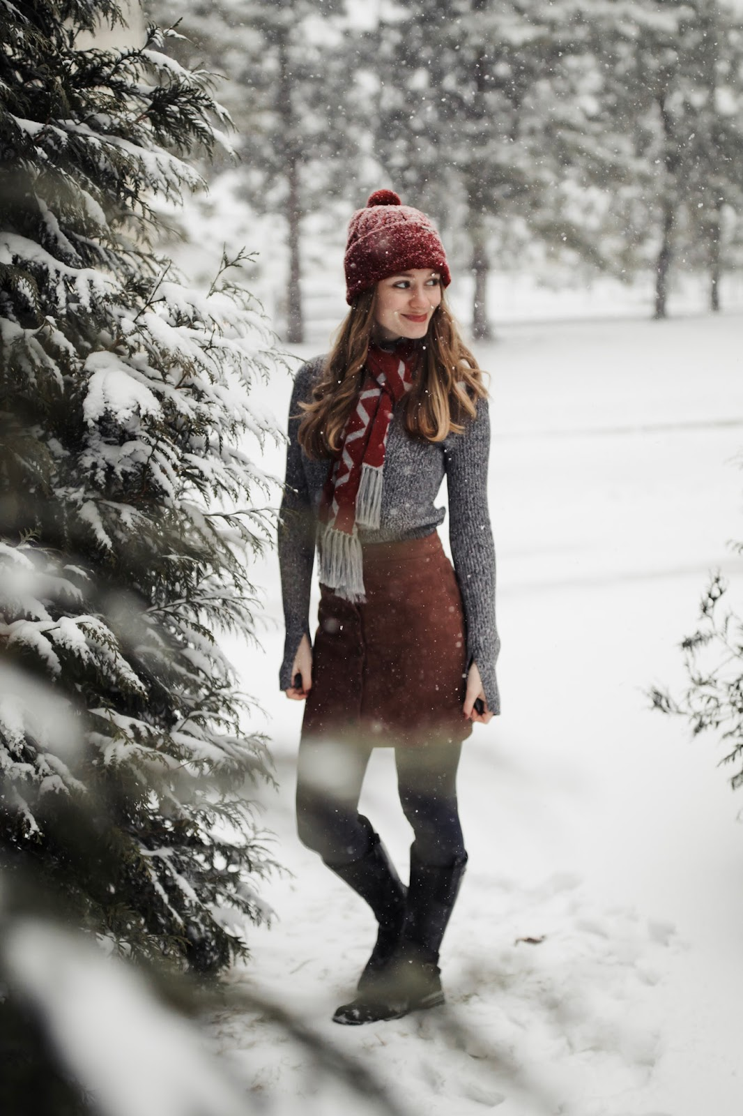 red-beanie-scarf-luna-and-terra-brown-suede-skirt