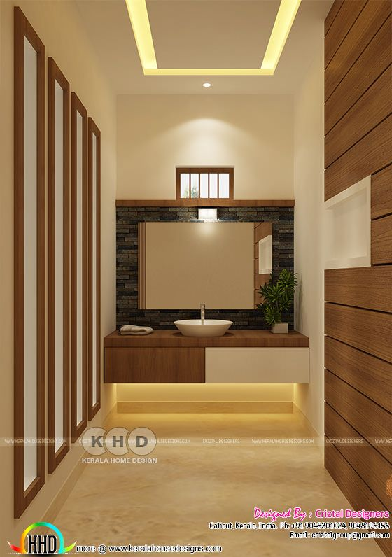 Wash area interior design in Kerala