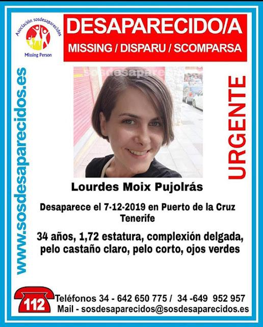 Lourdes Moix Pujolrás, mujer desaparecida en Puerto de La Cruz, Tenerife