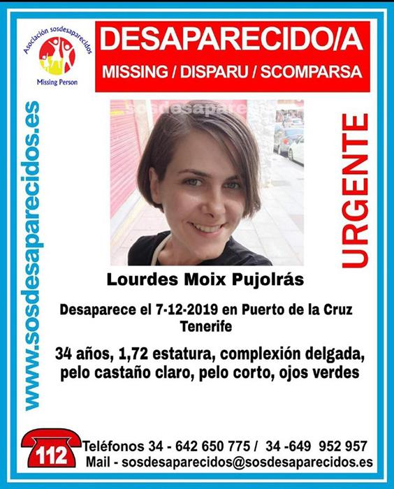 Mujer desaparecida Puerto de La Cruz, Tenerife
