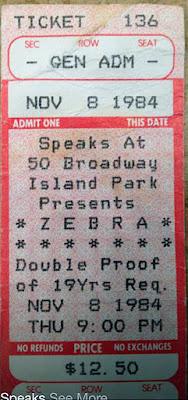 Ticket to see Zebra at Speaks Nov 8, 1984