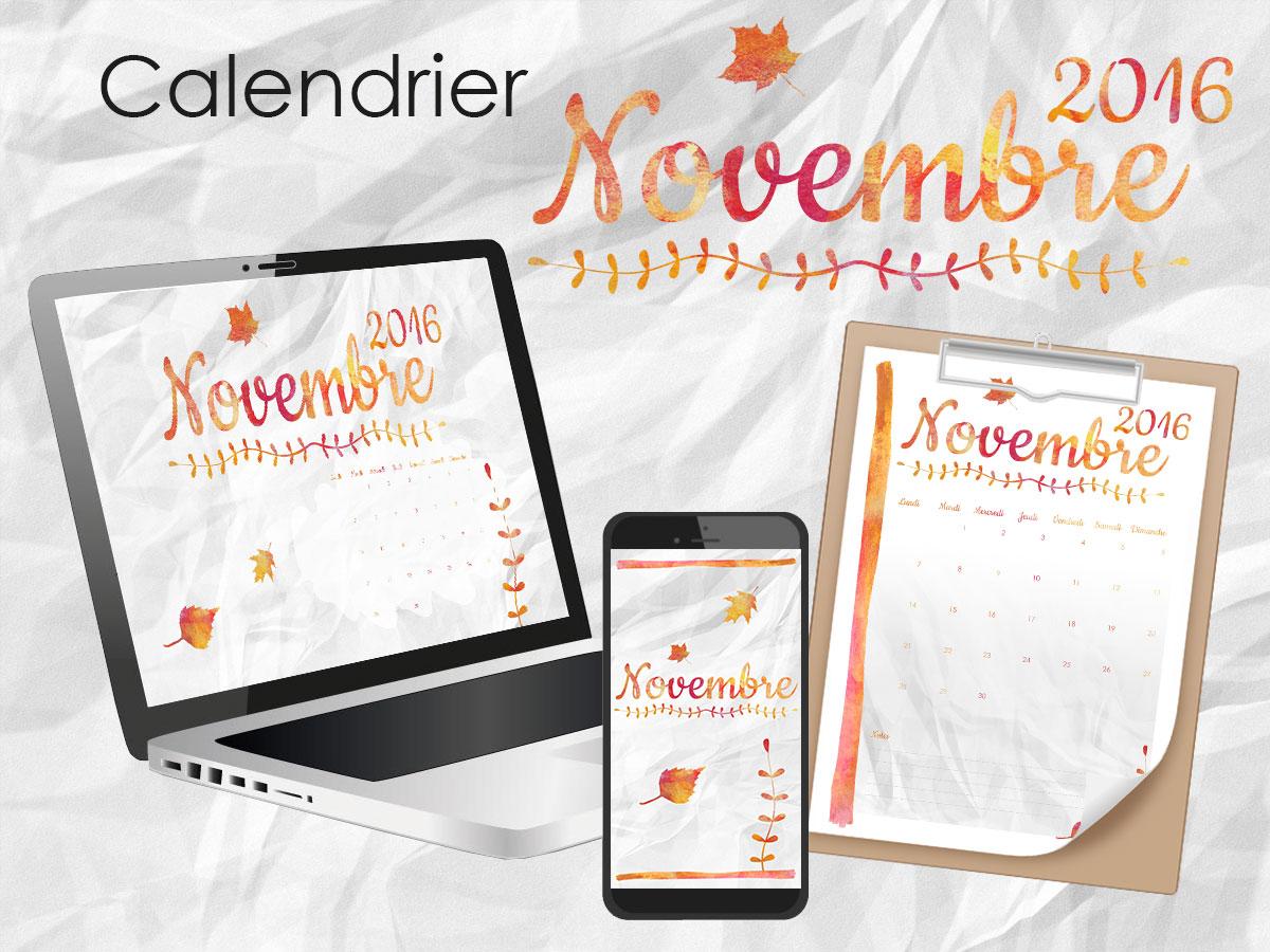 Calendrier imprimable et fonds d'écran mois de novembre