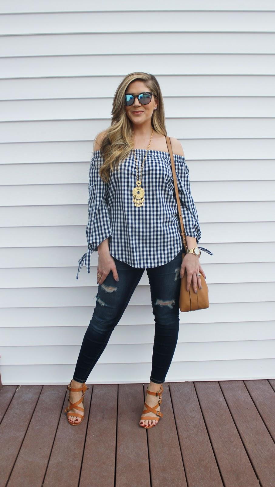 51e7099768d27 What I'm wearing...off the shoulder gingham top: Kohl's, distressed denim:  Target (similar), strappy heels: Charlotte Russe, shoulder bag: Forever 21  ...