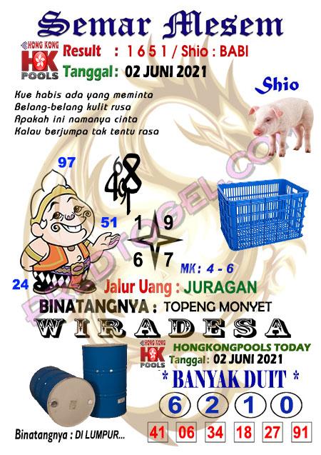 Syair HK Semar Mesem Rabu 02 Juni 2021
