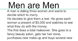 A Man Is Dating Three Women And Wants To Decide Which To Marry. This Is Perfect.