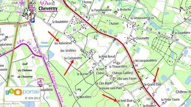 L'Ebat (Petit et Grand), la Cartonnière, les Robinières à Cheverny