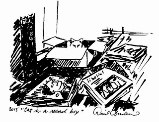 ink sketch of Charlie the Cat hiding in a box he commandeered from me while I was unpacking some Classical LP records. He doesn't look too interested in relinquishing control, does he?