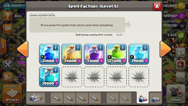 Jenis-Jenis Spell Factory Clash of Clans ( Update Clone Spell )