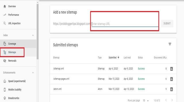 Add XML sitemap in Blogspot