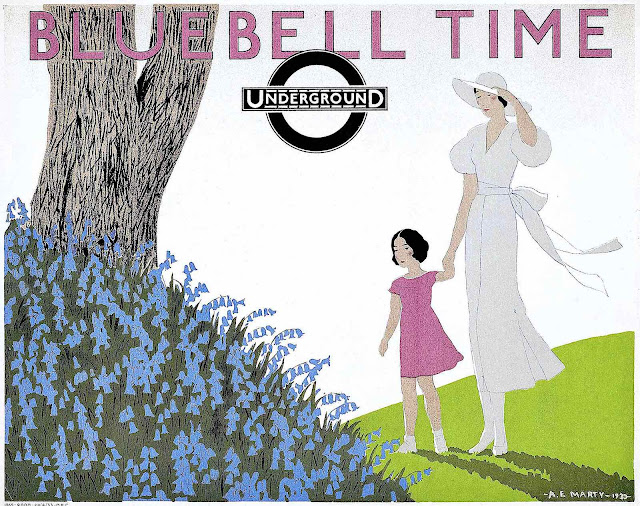 Andre Edouard Marty poster art for the London underground subway, Bluebell time