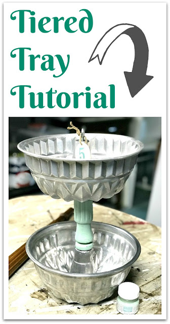 Pinterest pin of tiered tray using bundt pans