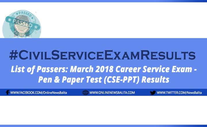 March 2018 Civil Service Exam Results CSE-PPT - Region 1