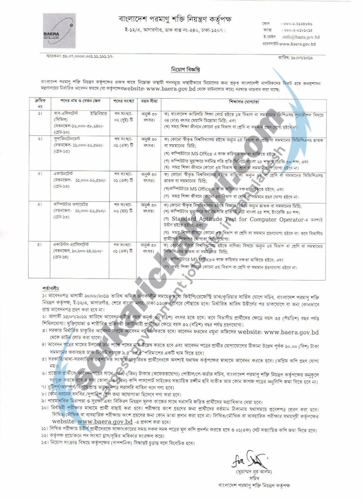 Bangladesh Atomic Energy Regulatory Authority Jobs Circular 2019