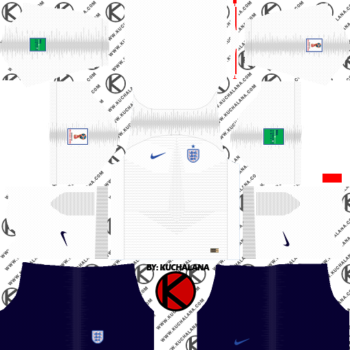 efde6c93958 England 2018 World Cup Kit - Dream League Soccer Kits - Kuchalana