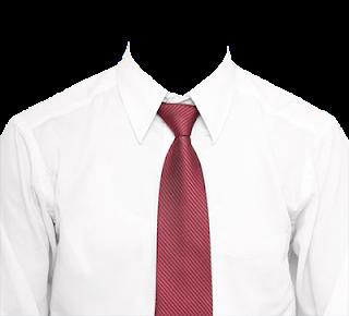 Preview template kemeja putih transparan dasi merah