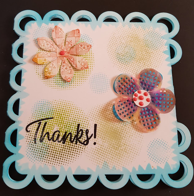 Thanks - flowers and circles lacy shaped card