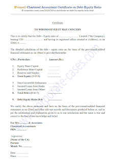 Chartered Accountant Certificate on Debt-Equity Ratio (Format)