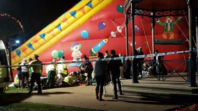 Eight Children Fell From An Inflatable Slide and Injured At A Fireworks Display.