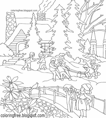 Kids playing snow ball lovely winter castle landscape coloring Christmas scene illustration designs