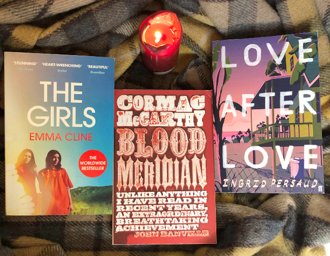 Row of book covers: 'The Girls', 'Blood Meridian' and 'Love After Love'