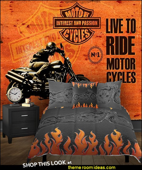 flames motorcycle bedroom  flames bedding - flames wall decals -  flames theme decorations - flames bedroom decorating - Harley Davidson decor - Harley Davidson bedding - Harley Davidson man cave decorating - Harley Davidson Room - flames motorcycle bedroom -motorcycle bedding