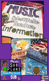 Music teachers often need to leave sub plans for non-musical substitute teachers.  This post is filled with tried and true lesson plans that are practical and comfortable for any teacher that steps into the music classroom.  Children's books, videos, worksheets and more are discussed.