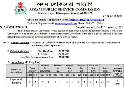 APSC Recruitment 2021 - Inspector of Statistics