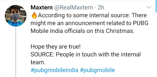 PUBG Mobile India official announcement on Christmas day, says Maxtern