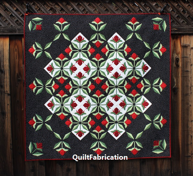 Mediterranean Rose quilt, dark background