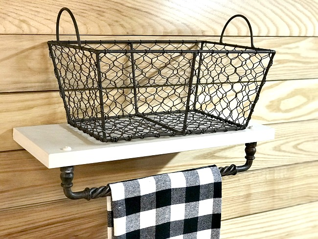 Repurposed Cabinet door Basket shelf and towel bar