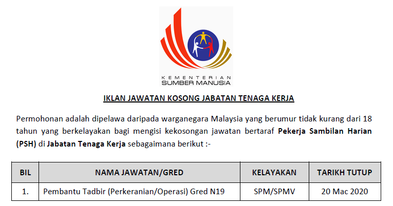Jawatan Kosong 2020 Di Jabatan Tenaga Kerja Pekerja Sambilan Harian Psh Ejawatankini Com