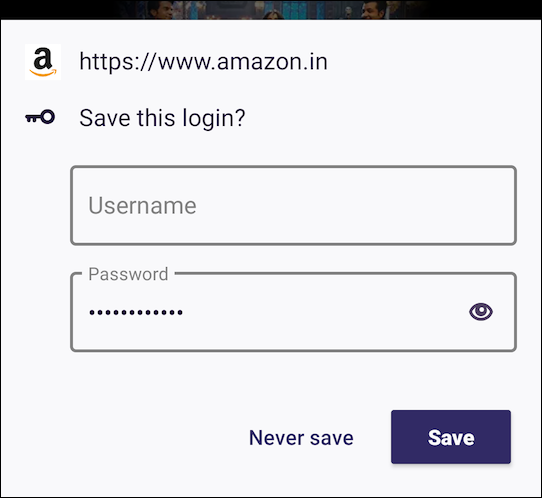 Firefox لنظام Android حفظ موجه تسجيل الدخول