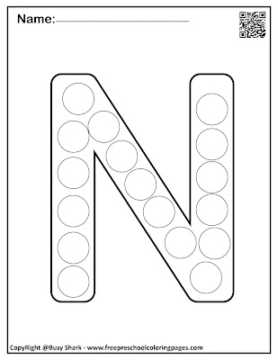 Letter N dot markers free preschool coloring pages ,learn alphabet ABC for toddlers