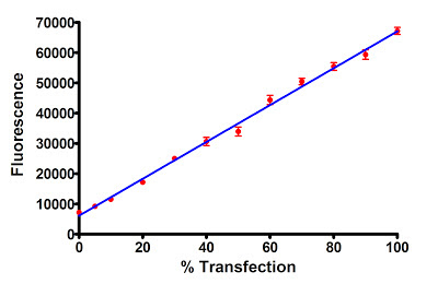 Fluorescent signal as a function of GFP transfection efficiency.