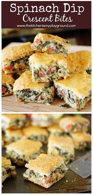 Spinach Dip Crescent Bites ~ All the goodness of spinach dip, baked up between flaky layers of crescent rolls!  Perfect for any party menu. #spinachdip #partyfood #gameday   www.thekitchenismyplayground.com
