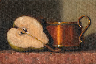 Still life oil painting of a pear sliced in half beside a small copper pot with handles.