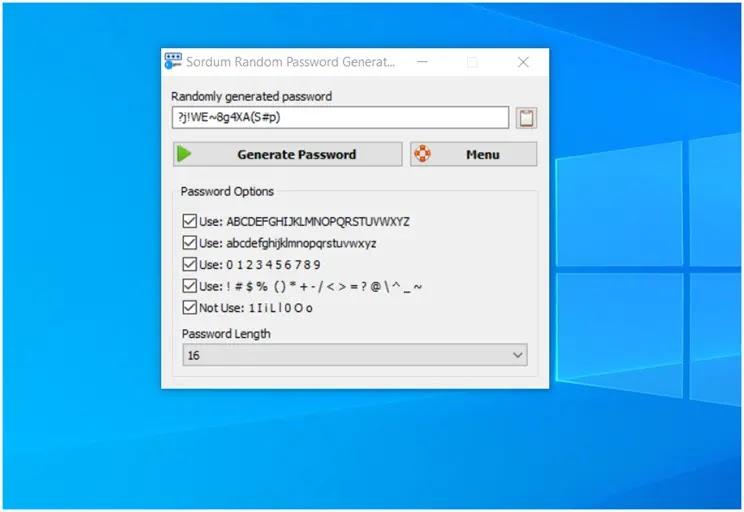 Sordum Random Password Generator : Δημιουργήστε ισχυρούς κωδικούς  πρόσβασης