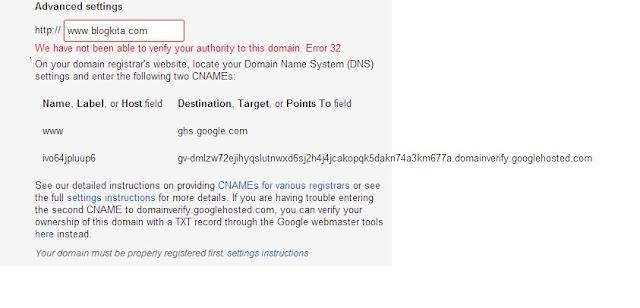 Cara Memasang Domain Sendiri Pada Blogspot 3