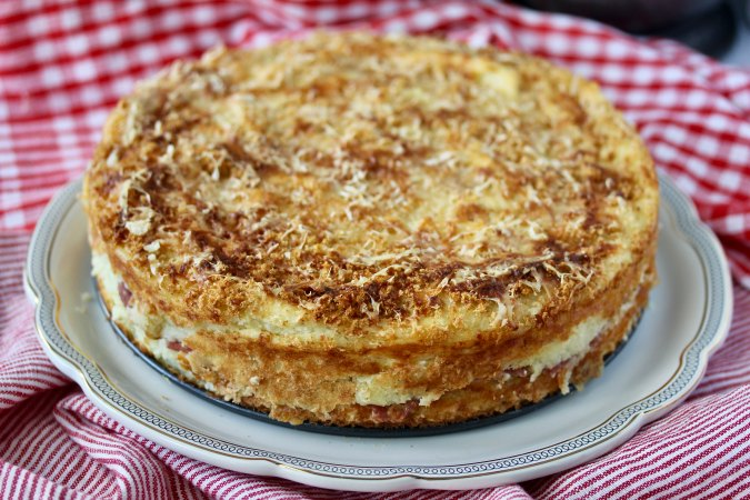Italian Potato Cake with breadcrumbs on top