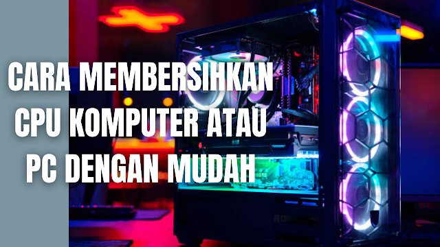 Cara Membersihkan CPU Komputer atau PC Dengan Mudah Komputer atau pc yang selalu dipakai akan cendurung mudah terkena kotoran terutama pada bagian CPU, sehingga diperlukan cara untuk membersihkannya agar CPU tidak menjadi rusak. Berikut ini cara-cara yang bisa dilakukan di dalam membersihkan bagian CPU pada pc atau komputer :  Putuskan Aliran Listrik Dari CPU Sebelum melakukan pembersihan pada CPU, lepas terlebih dahulu semua kabel yang terhubung ke listrik pada CPU dan semua perangkat yang terhubungan ke CPU, seperti  speaker, printer, monitor dan lain sebagainya. Serta pastikan tidak ada arus listrik yang mengalir ke CPU baik secara langsung maupun melalui perangkat lain.  Lepas Perangkat Yang Terhubung Ke CPU Jangan lupa lepaskan terlebih dahulu semua kabel yang terhubung ke CPU yang diantaranya mouse, keyboard, USB, speaker, dan LAN.  Bersihkan PSU (Power Supply Unit) Di dalam membersihkan bagian PSU, lepaskan terlebih dahulu kabel PSU yang menuju ke semau perangkat di dalam komputer yaitu motherboard, hardisk, ssd, DVD room, vga, dan lain-lain. Setelah itu bersihkan kipas PSU dengan kuas secara halus dan perlahan-lahan. Selanjutnya meniup debu dengan menggunakan blower atau alat peniup lain.  Akan tetapi jika masa garansi dari PSU sudah habis, maka dengan membuka casing dari PSU akan mempermudah pembersihan. Gunakan blower untuk membersihkannya, kemudian setelah bersih pasang kembali casing PSU. Manfaat dari membersihkan PSU adalah untuk menstabilkan temperatur panas dalam PSU.  Bersihkan Perangkat Dalam CPU Untuk membersihkan perangkat yang terdapat pada CPU, lepaskan terlebih dahulu perangkat yang terhubung ke motherboard yaitu kabel CD room, harddisk, SSD, RAM, VGA, dan lain-lainnya. Kemudian bersihkan dengan kuas secara halus dan perlahan-lahan, lalu tiup debu yang tersisa dengan blower. Untuk bagian RAM, periksa konektor yang bewarna kuning keemasan, lalu bersihkan dengan menggunakan penghapus pensil sampai mengkilap.  Bersihkan Motherboard Di dalam member