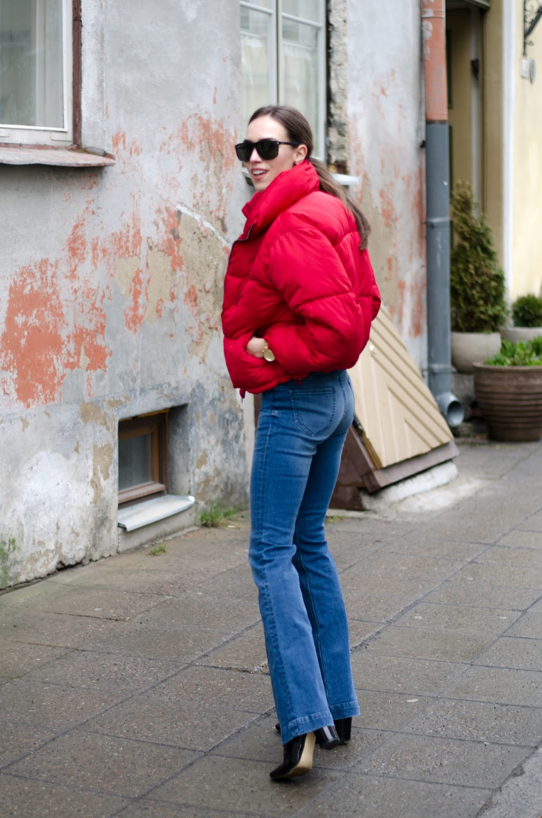 red puffer jacket winter outfit