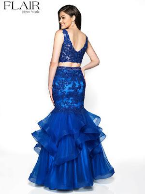 Mermaid Flair two-piece royal Blue Prom Skirt Dress back side