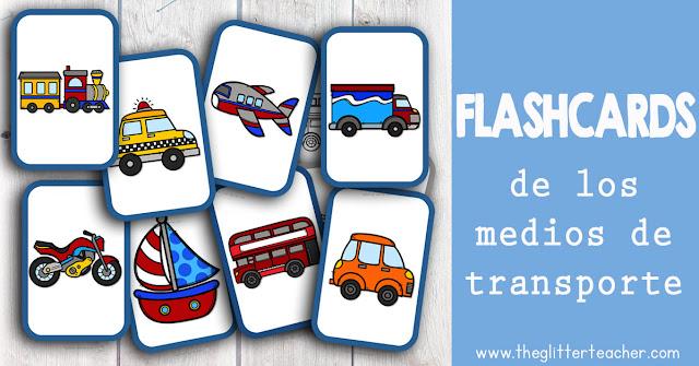 Tarjetas de vocabulario de los medios de transporte