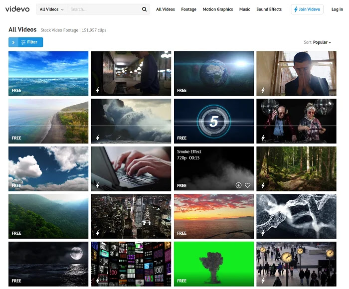 Videvo offers all these types of graphical videos free for you