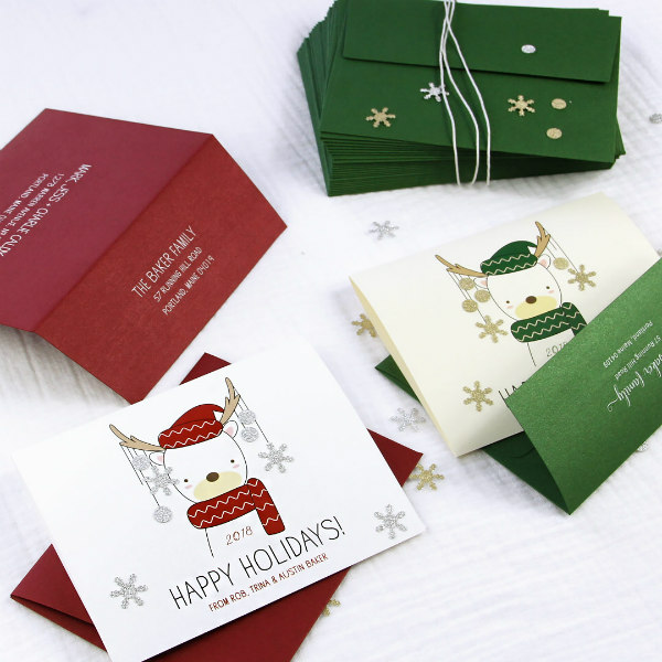 printed and personalized Christmas cards